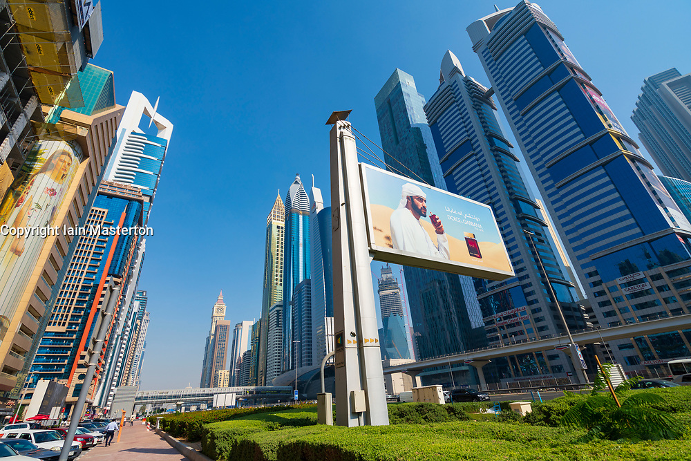 View of Skyscrapers lining Sheikh Zayed road in Dubai, United Arab Emirates, UAE