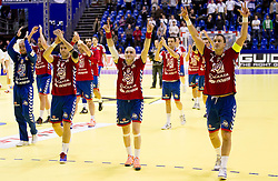 Nenad Vuckovic  of Serbia, Ivan Nikcevic of Serbia and Momir Ilic  of Serbia celebrate after winning the handball match between Poland and Serbia in Preliminary Round of 10th EHF European Handball Championship Serbia 2012, on January 15, 2012 in Arena Pionir, Belgrade, Serbia. Serbia defeated Poland 22-18. (Photo By Vid Ponikvar / Sportida.com)