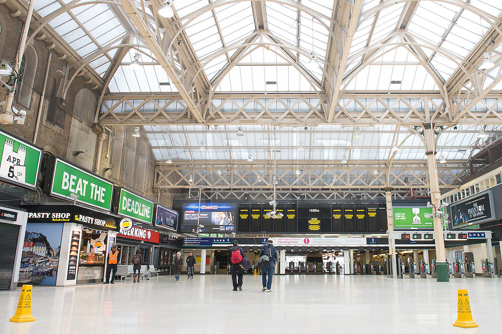 © London News Pictures. 03/04/15. London, UK. Charing Cross station is almost deserted as a result of no trains arriving or leaving the station, central London. The station is closed due to planned engineering works. Photo credit: Laura Lean/LNP
