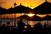 Moana Hotel lanai at sunset in Waikiki Beach , Honolulu, Hawaii