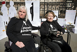 "© Licensed to London News Pictures. 01/05/2018. London, UK. Campaigners Nikki Kenward (L) and Elspeth Chowdharay protest against euthanasia at the High Court as terminally ill man Noel Conway challenges the law on assisted suicide. Mr Conway, who has motor neurone disease, is asking judges to acknowledge his ""basic right to die"". Photo credit: Peter Macdiarmid/LNP"