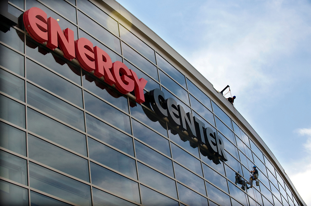 Consol Energy Center's glass facade is cleaned in preparation for the August 18, 2010 opening.