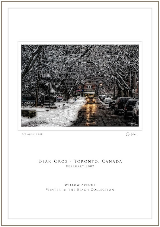 ABOUT THE IMAGE AND PRINT<br /> &quot;Willow Avenue&quot; is part of the &quot;Winter in the Beach Collection&quot;, a series of images capturing the beauty of the Beach neighbourhood during winter. &quot;Willow Avenue&quot; was captured in February of 2007, a couple of hours after a huge snow storm. The image was captured digitally and then enhanced in post production by the photographer.<br /> <br /> Each special order 13x19&quot; Poster Print will be created, signed and dated by the Artist.  Produced on textured fine-art photographic paper, the print is rated to last 100 years (per manufacturer's extensive testing) when professionally matted and framed, and displayed in proper conditions.<br /> <br /> The Artist will mat and frame the print upon request.<br /> <br /> Cdn$500.00. Please contact the Studio to place your order.