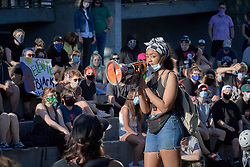 Amalia Davis speaks at a June 3, 2020, Black Lives Matter protest in Eugene, Oregon. Participants were protesting the murder of George Floyd and other African-Americans by police.