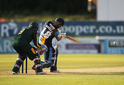 AL Hughes of Derbyshire Falcons in action (R) - Mandatory by-line: Jack Phillips/JMP - 24/06/2016 - CRICKET - The 3aaa County Ground - Derby, United Kingdom - Derbyshire Falcons v Notts Outlaws - Natwest T20 Blast