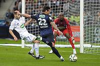 Ezequiel Lavezzi / Donovan Leon - 30.05.2015 - Auxerre / Paris Saint Germain - Finale Coupe de France<br />Photo : Andre Ferreira / Icon Sport