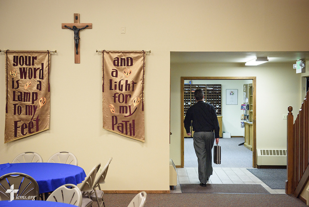 The Rev. Mark Nierman, pastor of Mount Olive Lutheran Church, leaves the church on Wednesday, March 2, 2016, in Loveland, Colo. LCMS Communications/Erik M. Lunsford