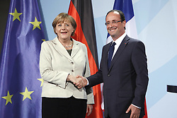 Bildnummer: 57992105..Chancellor Angela Merkel and Franois Grard Georges Nicolas Hollande during a press conference French Presidents in Federal Chancellery in Berlin Germany, Tuesday May 15, 2012.Sven Simon/imago/ i-Images