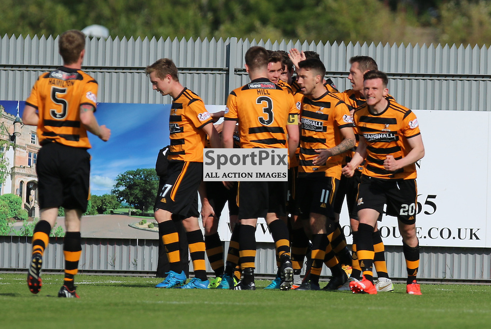 Alloa players Celebrate after Edward Ferns scores Alloas second goal  during the Dumbarton FC v Alloa FC Scottish Championship 5th September 2015 <br /> <br /> (c) Andy Scott | SportPix.org.uk