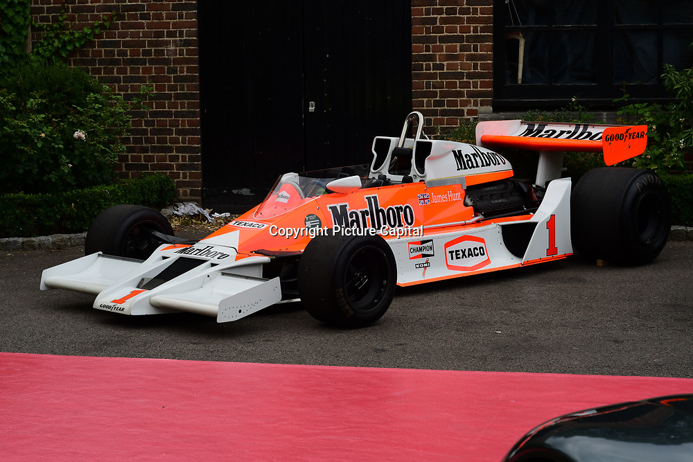 Cosworth race car display at the 2018 Grand Prix Ball held at The Hurlingham Club on July 4, 2018 in London, England.