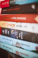 A stack of books by Bengali writers at Oxford Books in Kolkata, India.