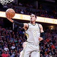 07 March 2018: Cleveland Cavaliers guard Jordan Clarkson (8) goes for the layup during the Cleveland Cavaliers 113-108 victory over the Denver Nuggets, at the Pepsi Center, Denver, Colorado, USA.