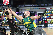 UNITED KINGDOM, London: 2015 World Wheelchair Rugby Challenge. Caption: Australian captain Riley Batt tries to grab the ball during a game between Australia and Japan. Rick Findler / Story Picture Agency