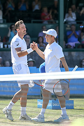 July 20, 2018 - Newport, RI, U.S. - NEWPORT, RI - JULY 20: Steve Johnson (USA) is congratulated by Dudi Sela (ISR) after their quarterfinal match up of the Dell Technologies Hall of Fame Open at the International Tennis Hall of Fame in Newport, Rhode Island on July 20, 2018. Johnson won the match 6-2, 6-3 and advanced to the semifinals. (Photo by Andrew Snook/Icon Sportswire) (Credit Image: © Andrew Snook/Icon SMI via ZUMA Press)