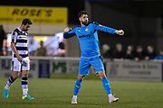 Forest Green Rovers Goalkeeper, Sam Russell (23) celebrates at the final whistle during the Vanarama National League match between Sutton United and Forest Green Rovers at Gander Green Lane, Sutton, United Kingdom on 14 March 2017. Photo by Adam Rivers.