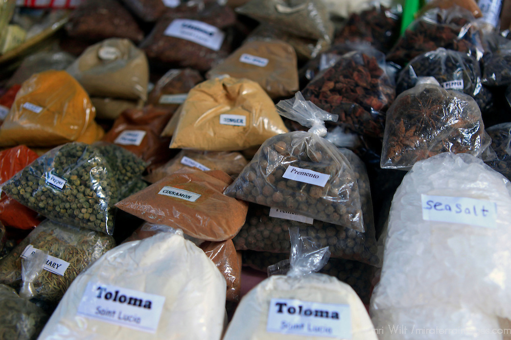 Americas, Caribbean, St. Lucia, Castries. Locally grown spices at the market.