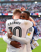 Fulham midfielder Tom Cairney (10)  and Fulham defender Ryan Sessegnon (3) during the EFL Sky Bet Championship play-off final match between Fulham and Aston Villa at Wembley Stadium, London, England on 26 May 2018. Picture by Jon Hobley.