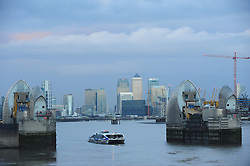 © Licensed to London News Pictures. 14/01/2017<br /> Cold London weather with Flood warning in place.<br /> The Thames Barrier is open this morning as Thames river levels stay low.<br /> Photo credit :Grant Falvey/LNP