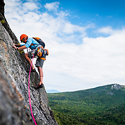 Matty Climbing the 3 Pitch of October Sundae on North Baldcap Mountain, New Hampshire