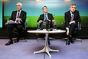 (L-R) Alistair Darling, Chancellor of the Exchequer, Peter Mandleson, The Business Secretary and British Prime Minister Gordon Brown hold a Labour Party press conference on 19 April 2010 about the UK's economy at the Bloomberg Building in Finsbury Square London. © under license to London News Pictures.