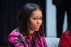 December 12, 2016 - Washington, DC, United States - On Monday, December 12, patients, families, and staff of Children's National Health System, were visited in the Main Atrium by, First Lady Michelle Obama, who answered questions from the children. (Credit Image: © Cheriss May/NurPhoto via ZUMA Press)