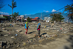 Oct. 1, 2018 - Palu, Indonesia -  Debris of buildings in Palu after the deadly earthquake and tsunami in Central Sulawesi, Indonesia. Over 1,203 people were killed in Palu, Donggala district, Parigi Mountong district and North Mamuju district, according to the Disaster Management Institute of Indonesia, Care for Humanity and the Humanity Data Center.  (Credit Image: © Iqbal Lubis/Xinhua via ZUMA Wire)