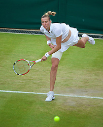 30.06.2014, All England Lawn Tennis Club, London, ENG, WTA Tour, Wimbledon, im Bild Petra Kvitova (CZE) during the Ladies' Singles 4th Round match on day seven // 15065000 during the Wimbledon Championships at the All England Lawn Tennis Club in London, Great Britain on 2014/06/30. EXPA Pictures © 2014, PhotoCredit: EXPA/ Propagandaphoto/ David Rawcliffe<br /> <br /> *****ATTENTION - OUT of ENG, GBR*****