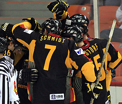 German Team celebrate at ice-hockey match Germany (played in old replika jerseys from year 1946) vs Slovakia at Preliminary Round (group C) of IIHF WC 2008 in Halifax, on May 05, 2008 in Metro Center, Halifax, Nova Scotia, Canada. Germany won 4:2. (Photo by Vid Ponikvar / Sportal Images)