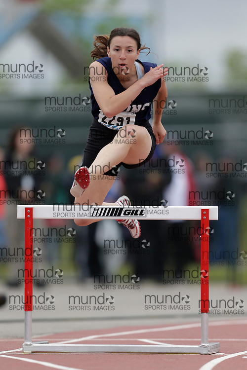 Katrin Spassov of W. L. MacKenzie CI -North York competes in the intermediate hurdle heats at the 2013 OFSAA Track and Field Championship in Oshawa Ontario, Saturday,  June 8, 2013.<br /> Mundo Sport Images/ Geoff Robins
