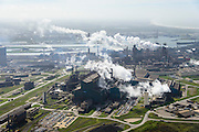 Nederland, Noord-Holland, IJmuiden , 09-04-2014; IJmuiden Steel Works van Tata Steel. Oxystaalfabriek en walserijen. Hoogovens rechts. <br /> IJmuiden Steel Works, part of Tata Steel. <br /> luchtfoto (toeslag op standard tarieven);<br /> aerial photo (additional fee required);<br /> copyright foto/photo Siebe Swart