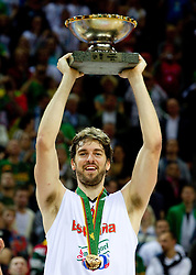 Pau Gasol of Spain celebrates at medal ceremony after the final basketball game between National basketball teams of Spain and France at FIBA Europe Eurobasket Lithuania 2011, on September 18, 2011, in Arena Zalgirio, Kaunas, Lithuania. Spain defeated France 98-85 and became European Champion 2011. (Photo by Vid Ponikvar / Sportida)