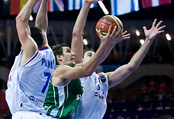 Domen Lorbek (13) of Slovenia during the EuroBasket 2009 Semi-final match between Slovenia and Serbia, on September 19, 2009, in Arena Spodek, Katowice, Poland. Serbia won after overtime 96:92.  (Photo by Vid Ponikvar / Sportida)