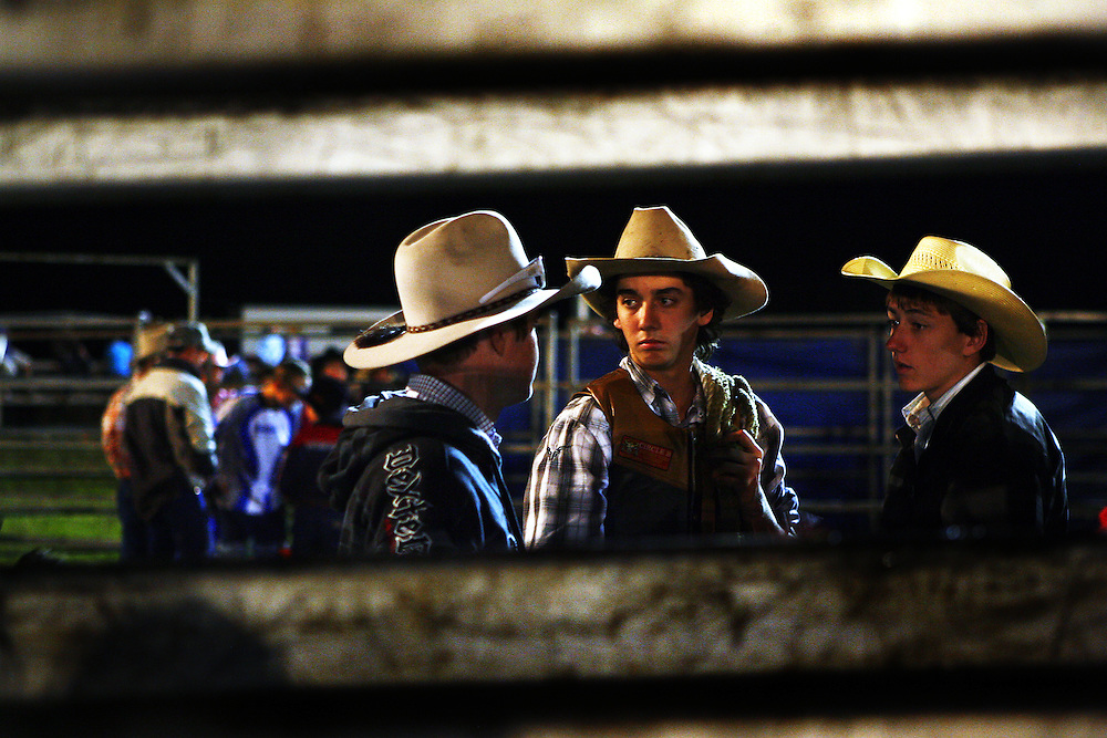 Bullriders at a competition at Casino Showground during the Beef Week celebrations. Casino is a cattle town in northern NSW, Australia.
