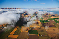 Low clouds over farms in Utah County