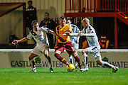 Motherwell FC Midfielder Marvin Johnson held up on the attack during the Ladbrokes Scottish Premiership match between Motherwell and Dundee at Fir Park, Motherwell, Scotland on 12 December 2015. Photo by Craig McAllister.