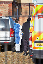 © Licensed to London News Pictures.  15/01/2013. AYLESBURY, UK. Forensic officers search the home and garden belonging to Patricia Goodband, 76, near Aylesbury, Buckinghamshire. She was last seen on Monday 17 December and reported missing by a relative on Wednesday 9 January. Thames Valley Police have arrested two men, aged 63 and 59, on suspicion of murder, conspiracy to pervert the course of justice and of concealing a body. Both remain in custody. However, TVP continue to treat the investigation as a missing person inquiry. Photo credit :  Cliff Hide/LNP