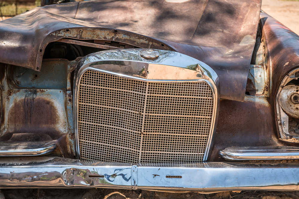 Close up of the front grille of dilapidated car, Chobe National Park - Botswana