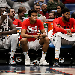 Feb 12, 2019; New Orleans, LA, USA; New Orleans Pelicans center Julius Randle (left) and guard Frank Jackson (center) and forward Anthony Davis (right) on the bench during the fourth quarter against the Orlando Magic at the Smoothie King Center. Mandatory Credit: Derick E. Hingle-USA TODAY Sports