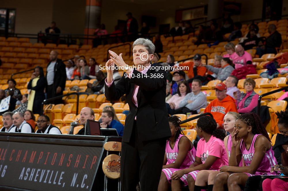BUIES CREEK, NC - February 13th, 2016 - Campbell Camels and Longwood at Gilbert Craig Gore Arena in Buies Creek, NC. Photo By Bennett Scarborough