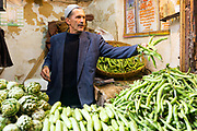 Portrait of a market trader, old Fez Medina, Fez Medina, Morocco, 2016-03-05.<br />