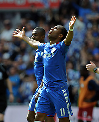 Didier Drogba Celebrates Scoring 1st goal.Chelsea 2009/10.Chelsea FA Cup Winners 2010.Chelsea V Portsmouth (1-0) 15/05/10 .The FA Cup Final Wembley Stadium.