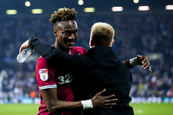 Tammy Abraham of Aston Villa celebrates with Aston Villa manager Dean Smith after their side win on penalties against West Bromwich Albion to book their place in the Sky Bet Championship Playoff Final - Mandatory by-line: Robbie Stephenson/JMP - 14/05/2019 - FOOTBALL - The Hawthorns - West Bromwich, England - West Bromwich Albion v Aston Villa - Sky Bet Championship Play-off Semi-Final 2nd Leg