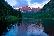 Sunrise at Maroon Lake in the Maroon Bells, Colorado