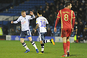 Bury Midfielder,  Nicky Adams (7) and Bury Forward, Dom Telford (18)  celebrate 2-3 goal celebration the EFL Sky Bet League 2 match between Bury and Milton Keynes Dons at the JD Stadium, Bury, England on 12 January 2019.