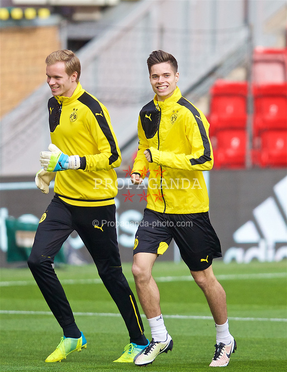 LIVERPOOL, ENGLAND - Wednesday, April 13, 2016: Borussia Dortmund's Julian Weigl during a training session at Anfield ahead of the UEFA Europa League Quarter-Final 2nd Leg match against Liverpool. (Pic by David Rawcliffe/Propaganda)