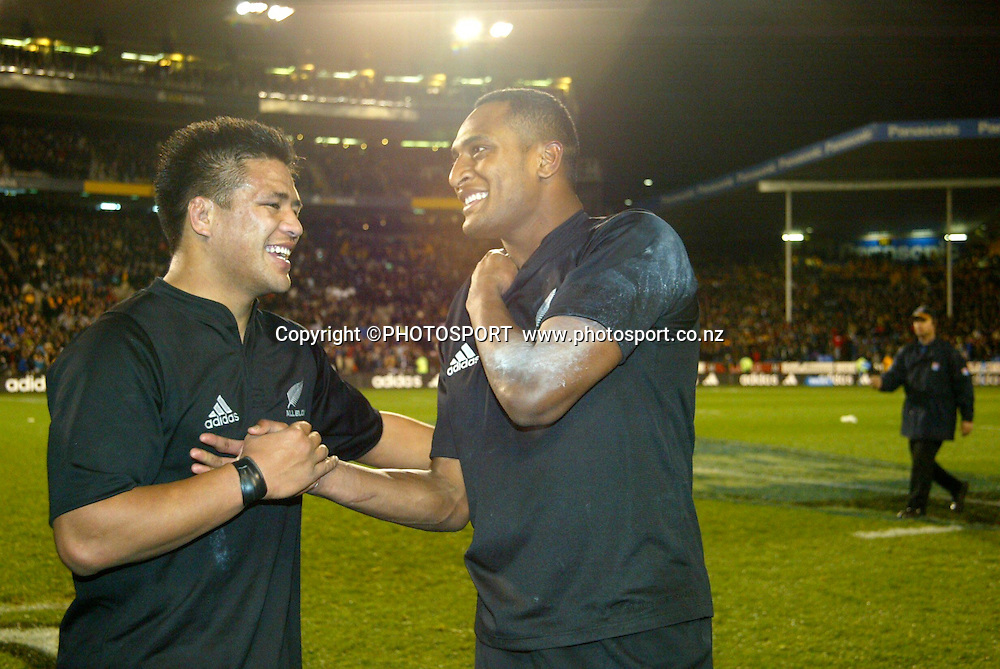 16 August 2003, International Rugby Union, Bledisloe Cup, New Zealand vs Australia, Eden Park, Auckland, New Zealand.<br />All Blacks Keven Mealamu and Joe Rokocoko after their 21-17 victory over Australia to take back the Bledisloe Cup.<br />Pic: Sandra Teddy/Photosport