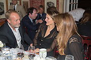 IAN WACE; SAFFRON ALDRIDGE; JEMIMA KHAN, Charles Finch and  Jay Jopling host dinner in celebration of Frieze Art Fair at the Birley Group's Harry's Bar. London. 10 October 2012.