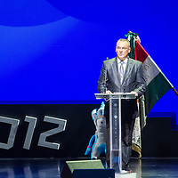 Zsolt Borkai president of the Hungarian Olympic Committee (MOB) delivers his speech during the swearing in ceremony of the Hungarian Olympic Team that will travel to London in Budapest, Hungary on June 22, 2012. ATTILA VOLGYI
