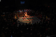"Ryan Galeone (r) and Jonathan Gresham fight during the Beyond Wrestling Organization's ""Dream Left Behind"" event, held at the Center for Arts at the Armory in Somerville, Sunday, Jan. 31, 2016."