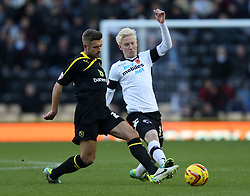 Sheffield Wednesday's Stephen McPhail and Derby County's Will Hughes battle-Photo mandatory by-line: Matt Bunn/JMP - Tel: Mobile: 07966 386802 09/11/2013 - SPORT - FOOTBALL - Pride Park - Derby - Derby County v Sheffield Wednesday - Sky Bet Championship